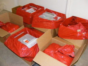 Biomedical waste in boxes for disposal