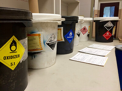 Lab Pack Pails ready for removal
